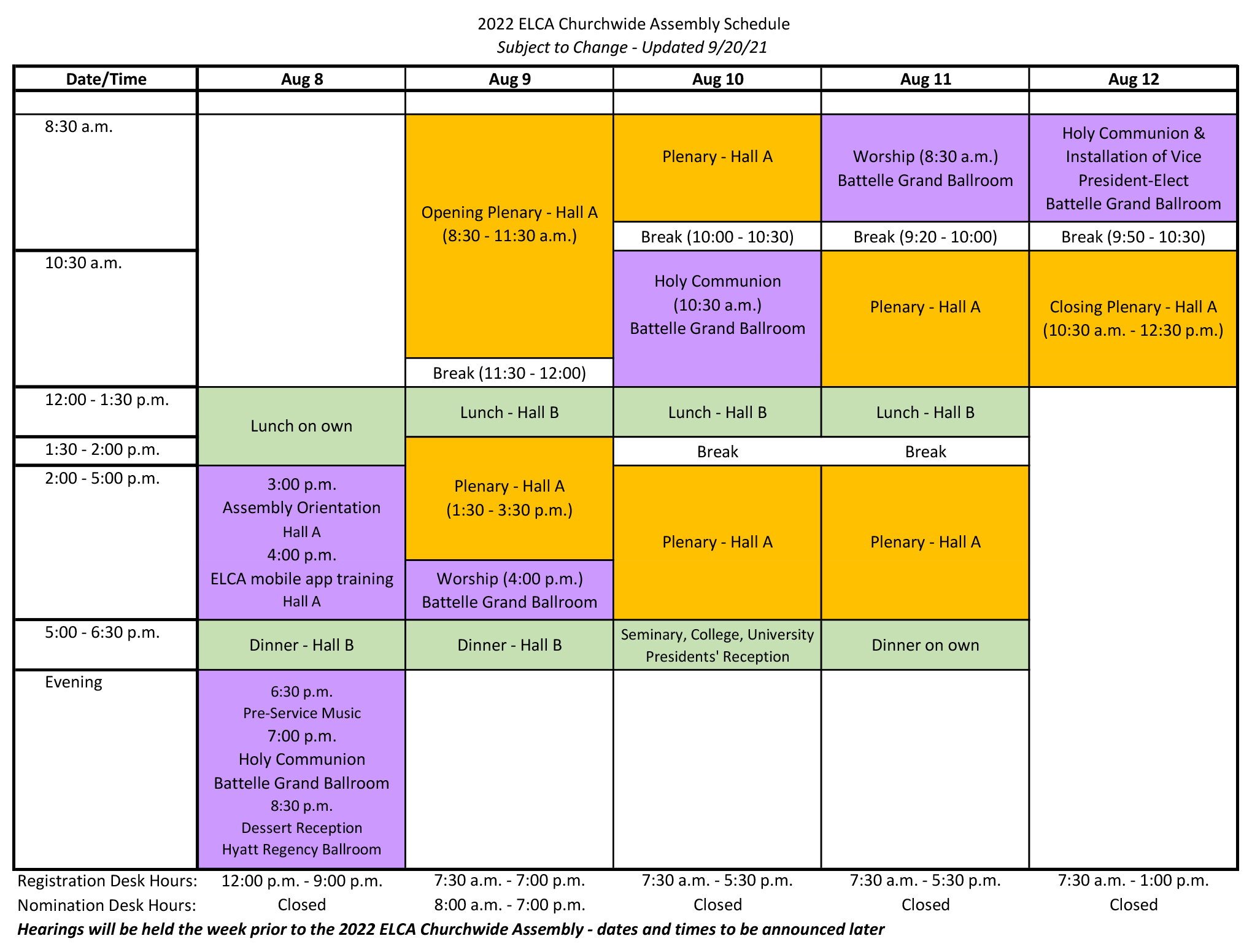 2022 Churchwide Assembly Schedule
